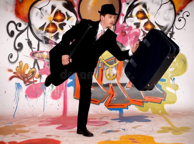 Homme d'affaires, graffiti urbain photos libres de droits