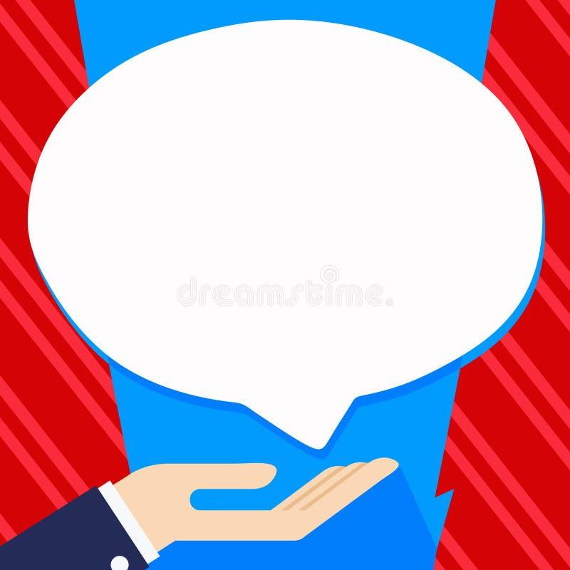 Homme d'affaires Hand Doing l'icône de signe de donation Paume en position en supination sous la bulle blanche de la parole de bl illustration libre de droits