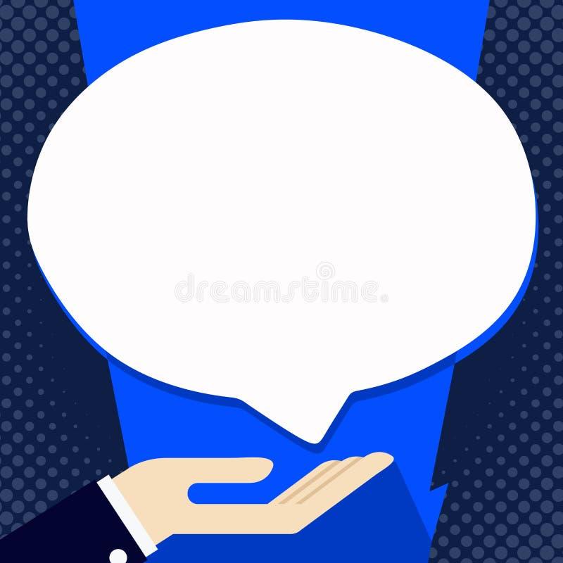 Homme d'affaires Hand Doing l'icône de signe de donation Paume en position en supination sous la bulle blanche de la parole de bl illustration stock