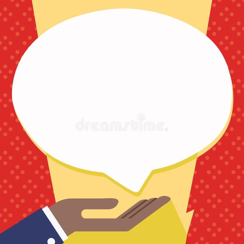 Homme d'affaires Hand Doing l'icône de signe de donation Paume en position en supination sous la bulle blanche de la parole de bl illustration de vecteur