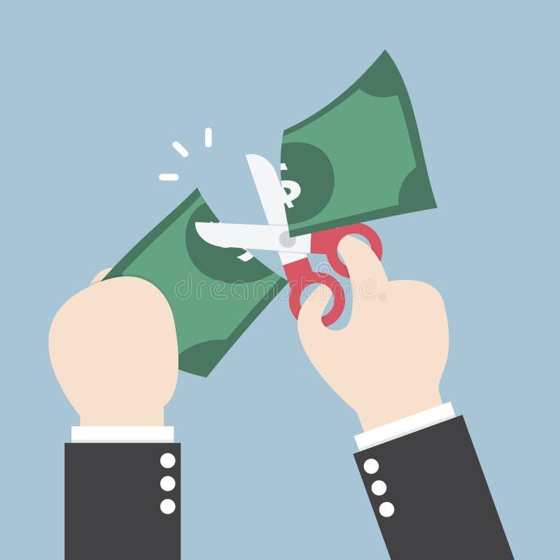 Homme d'affaires Hands tenant des ciseaux et coupant le dollar illustration de vecteur
