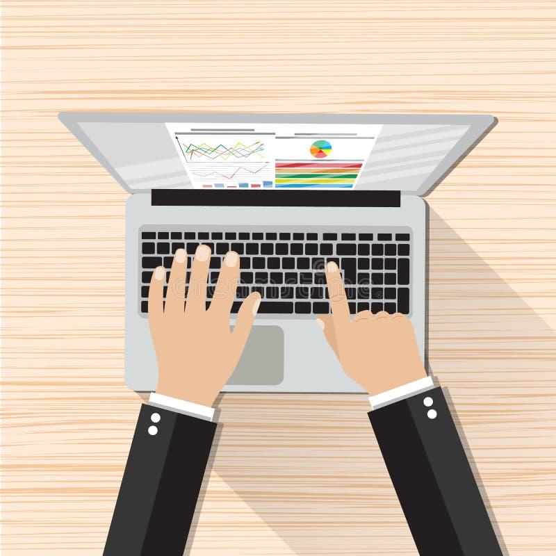 Homme d'affaires Hands Working Laptop illustration de vecteur