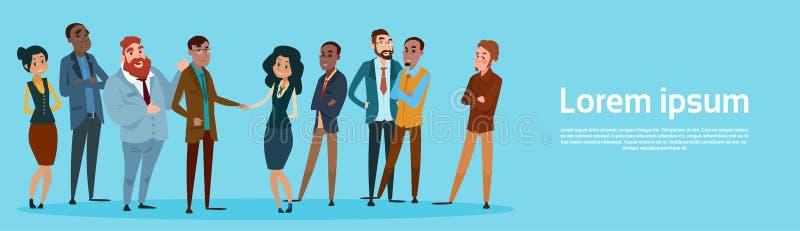 Homme d'affaires Handshake Businesspeople Group Team Hand Shake Agreement Concept illustration de vecteur