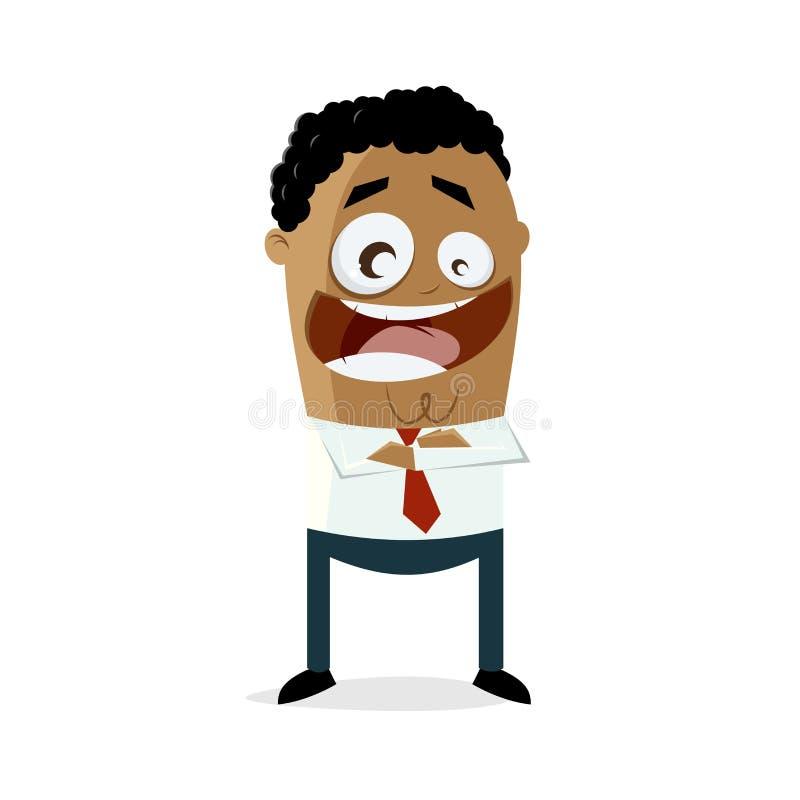 Homme d'affaires heureux d'afro-américain avec des bras croisés illustration libre de droits