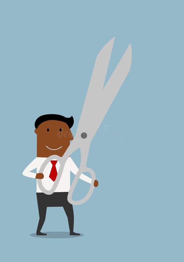 Homme d'affaires heureux avec des ciseaux énormes illustration libre de droits