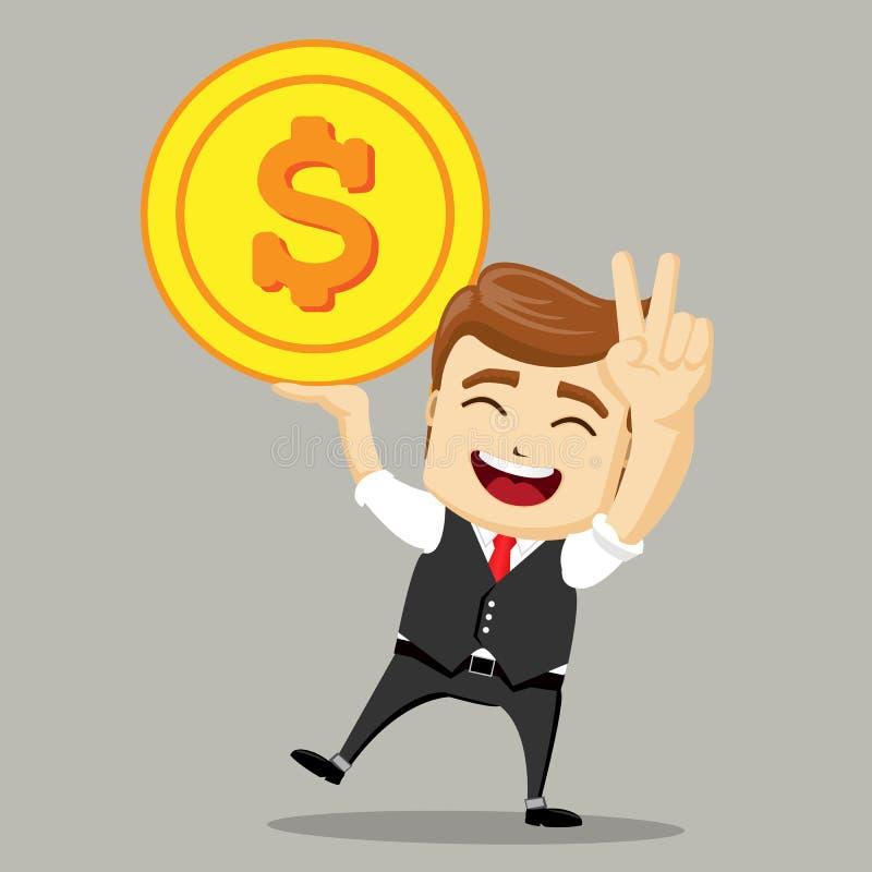 Homme d'affaires heureux avec la grande pièce d'or Concept d'argent, gagnant d'homme d'affaires illustration libre de droits