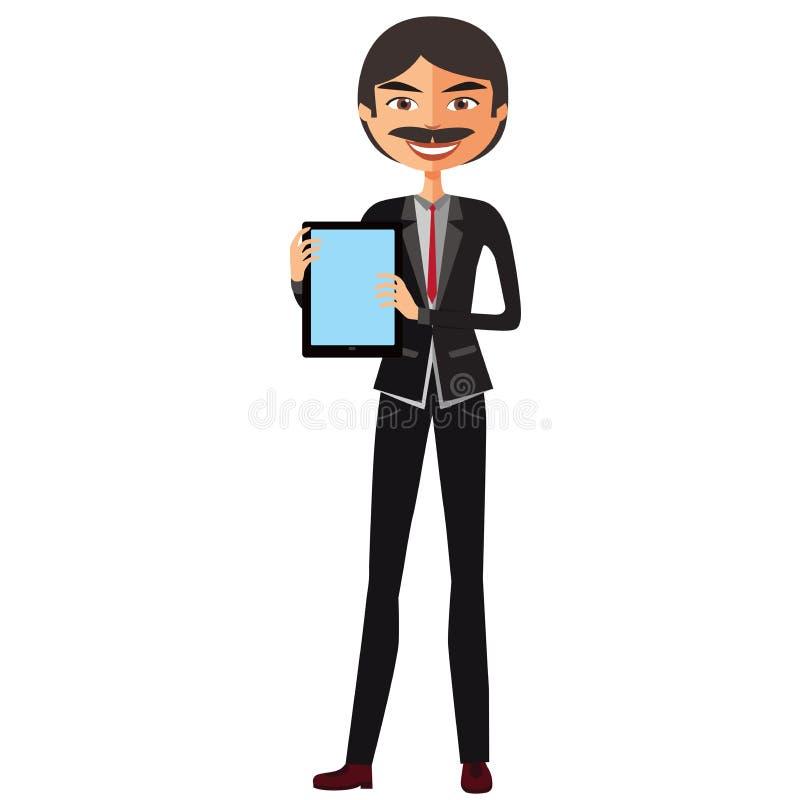Homme d'affaires heureux avec une moustache et avec le vecteur plat de bande dessinée de comprimé illustration libre de droits