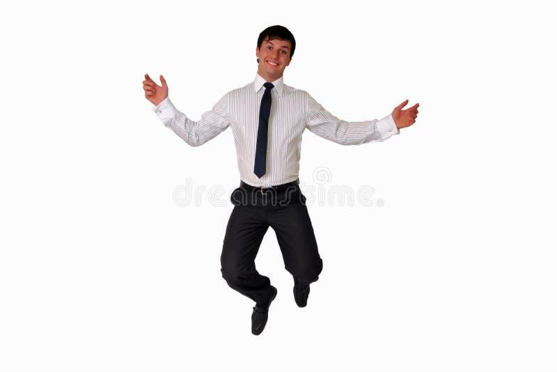 Homme d'affaires heureux branchant en air d'isolement photo libre de droits
