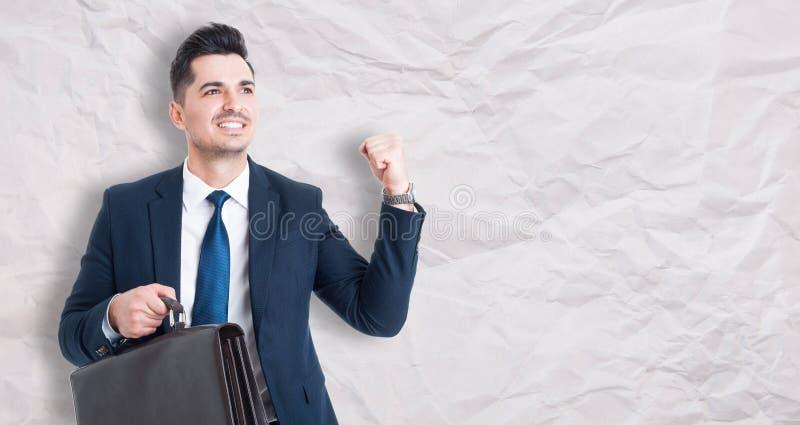 Homme d'affaires heureux célébrant le succès image libre de droits