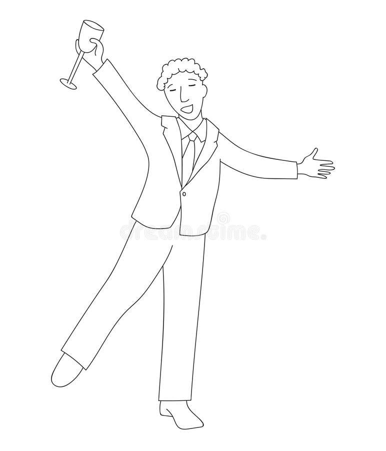 Homme d'affaires heureux dans le costume formel avec le champagne illustration libre de droits