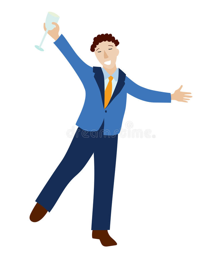 Homme d'affaires heureux dans le costume formel avec le champagne illustration stock