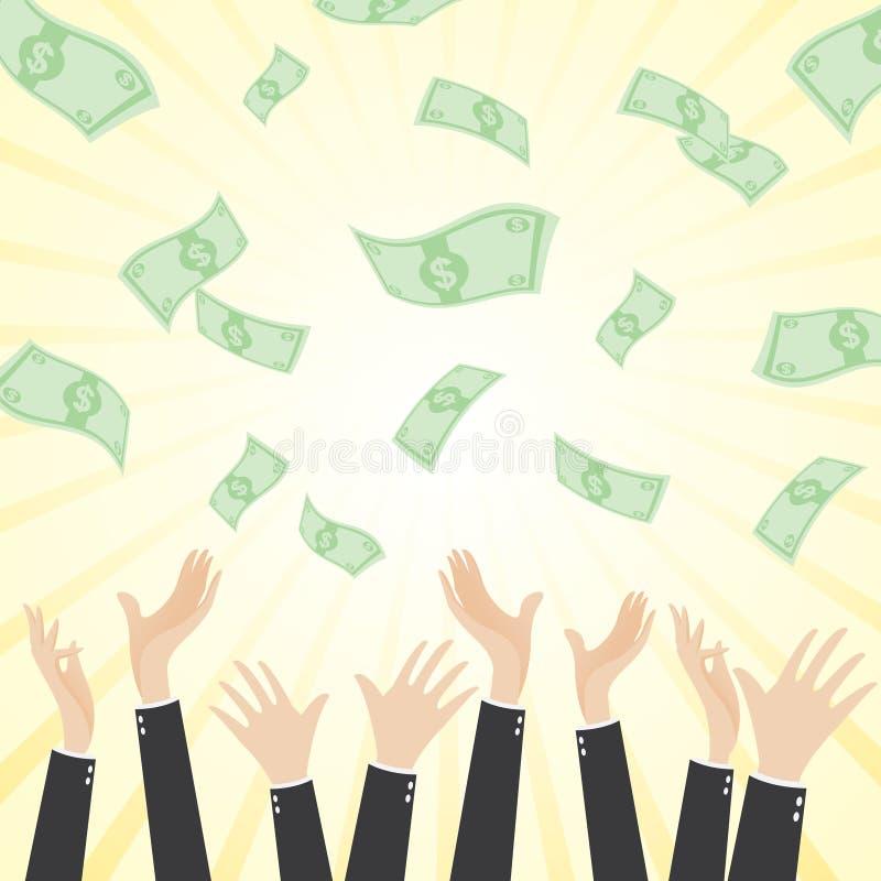 Homme d'affaires heureux de bande dessinée avec l'argent liquide d'argent illustration de vecteur