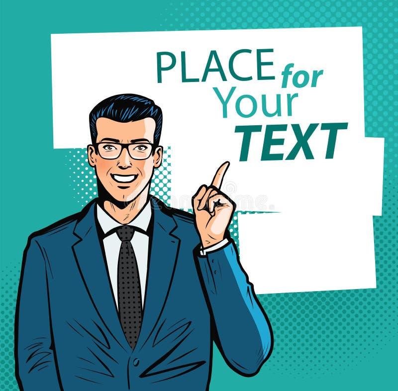 Homme d'affaires heureux dirigeant l'index à l'information importante Concept d'affaires Illustration de vecteur de dessin animé illustration de vecteur