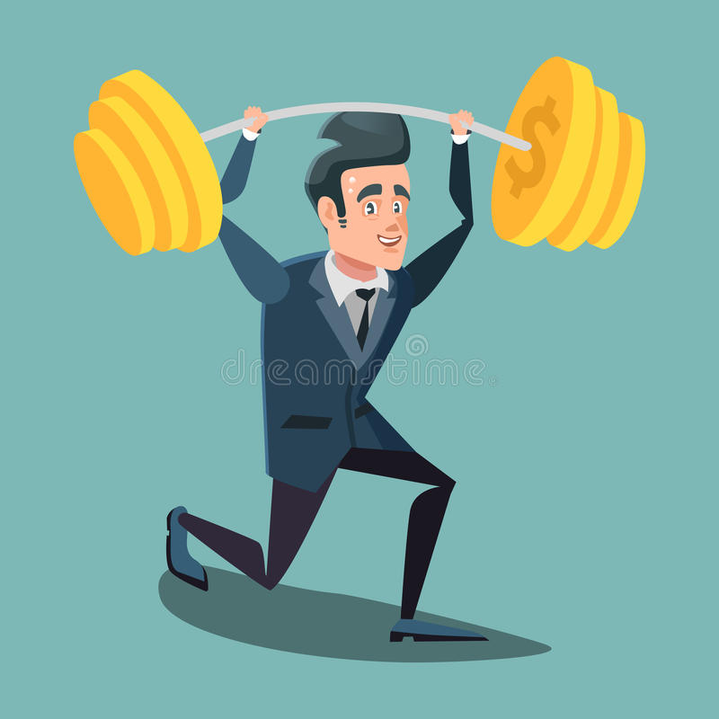 Homme d'affaires heureux Lifting Up Barbell avec le symbole dollar illustration libre de droits