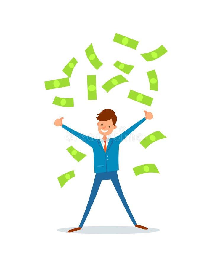 Homme d'affaires heureux Making Cash Rain de vecteur d'argent illustration de vecteur