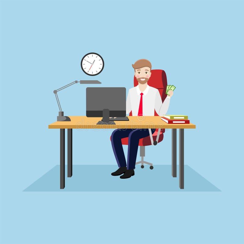 Homme d'affaires heureux s'asseyant à la table de bureau avec l'argent à disposition illustration de vecteur