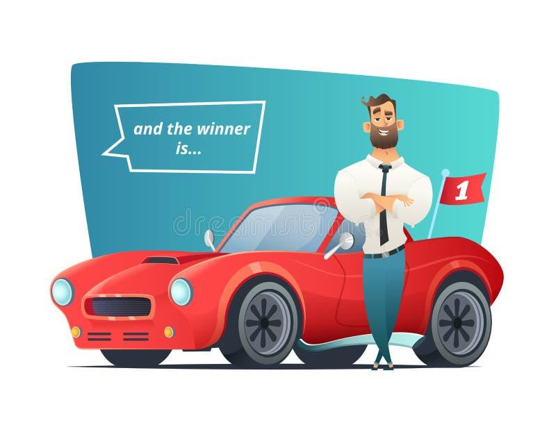 Homme d'affaires heureux se tenant près de la voiture de sport Gagnant d'homme et sa voiture de sport Illustration de vecteur illustration libre de droits