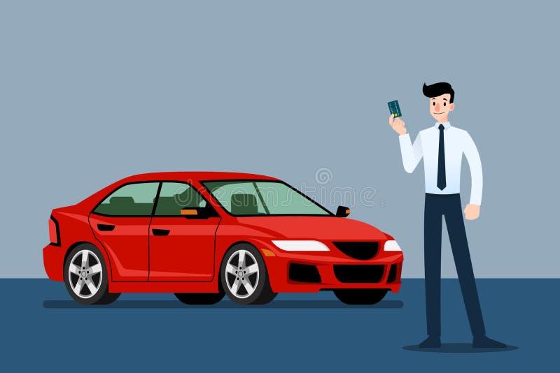 Homme d'affaires heureux, support de vendeur et tenir la carte de crédit devant la voiture de luxe que stationnement dans la gran illustration stock