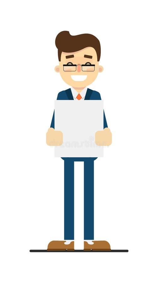 Homme d'affaires heureux tenant la feuille de papier blanc illustration stock