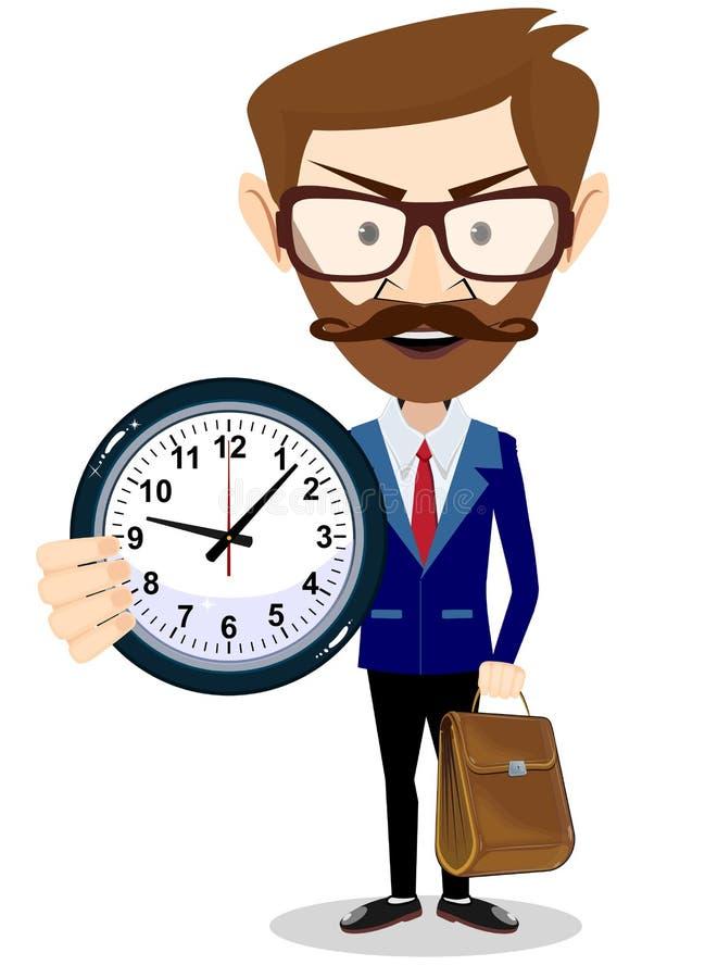 Homme d'affaires heureux tenant la grande horloge Concept de gestion du temps illustration stock