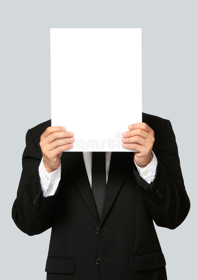 Homme d'affaires Holding Blank Signboard images stock