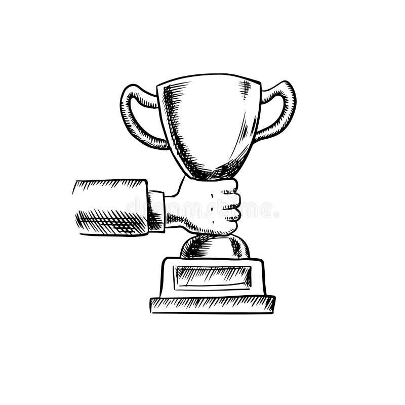 Homme d'affaires Holding par tasse de trophée illustration libre de droits