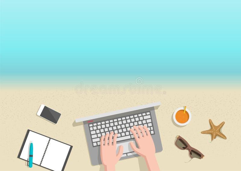 Homme d'affaires horizontal conceptuel de bannière d'été travaillant à la plage illustration de vecteur