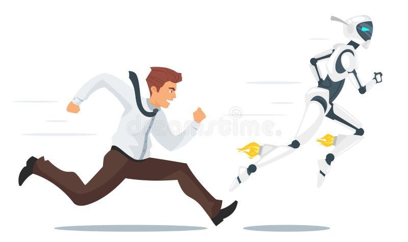 Homme d'affaires humain contre la confrontation de robot illustration de vecteur