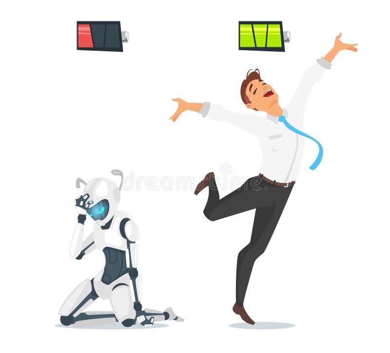 Homme d'affaires humain contre le robot illustration stock