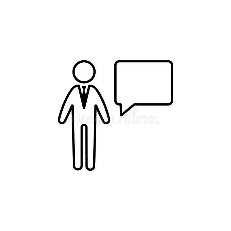 Homme d'affaires, icône de message sur le fond blanc Peut être employé pour le Web, logo, l'appli mobile, UI, UX illustration de vecteur