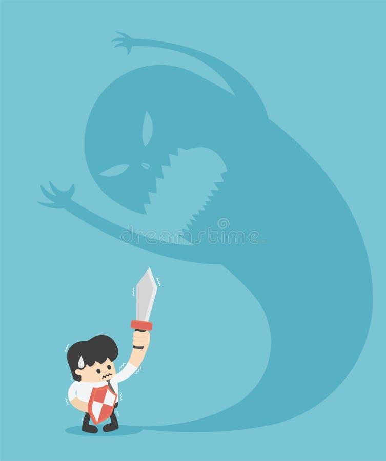 Homme d'affaires d'illustration essayant de combattre avec l'ombre de monstre illustration de vecteur