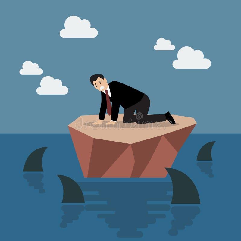 Homme d'affaires impuissant sur une petite île qui a entouré par le requin illustration stock
