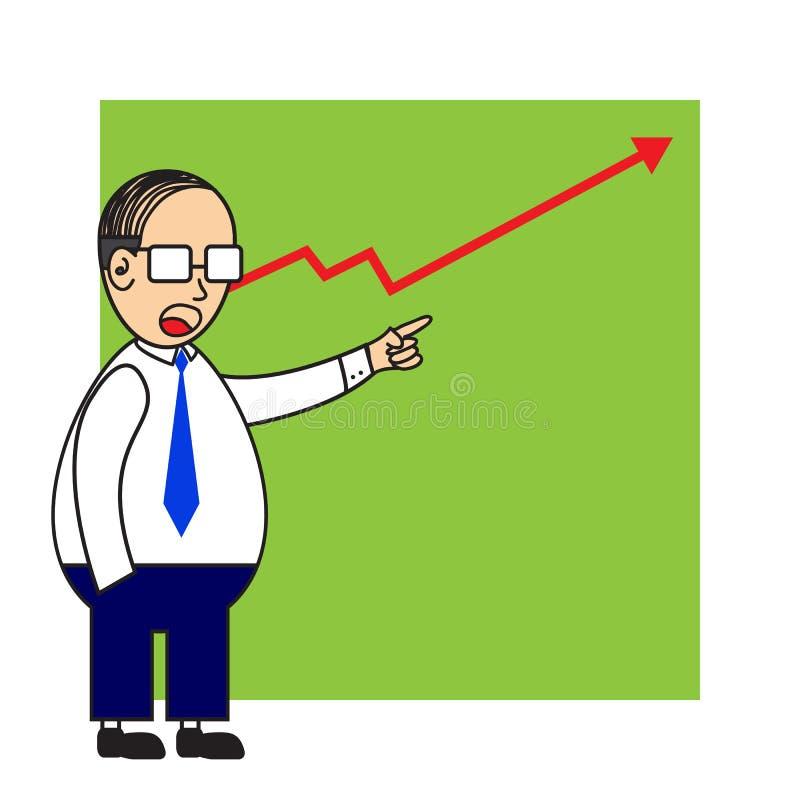 Homme d'affaires indiquant des actions  illustration stock