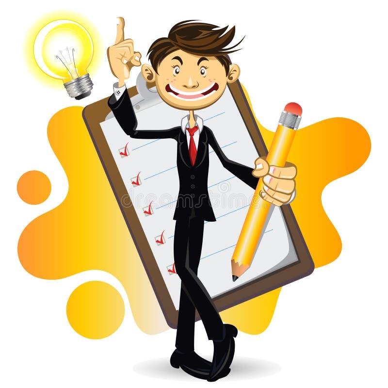 Homme d'affaires intelligent fait avec sa liste de contrôle illustration de vecteur