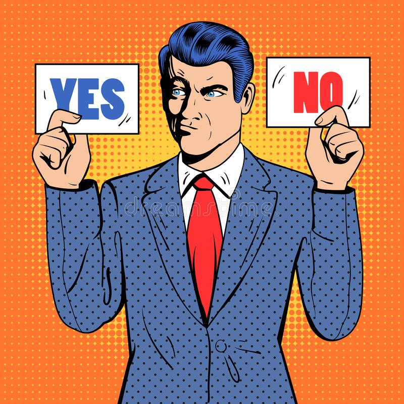Homme d'affaires irrésolu Making Decision Homme jugeant des cartes oui aucune Art de bruit illustration de vecteur