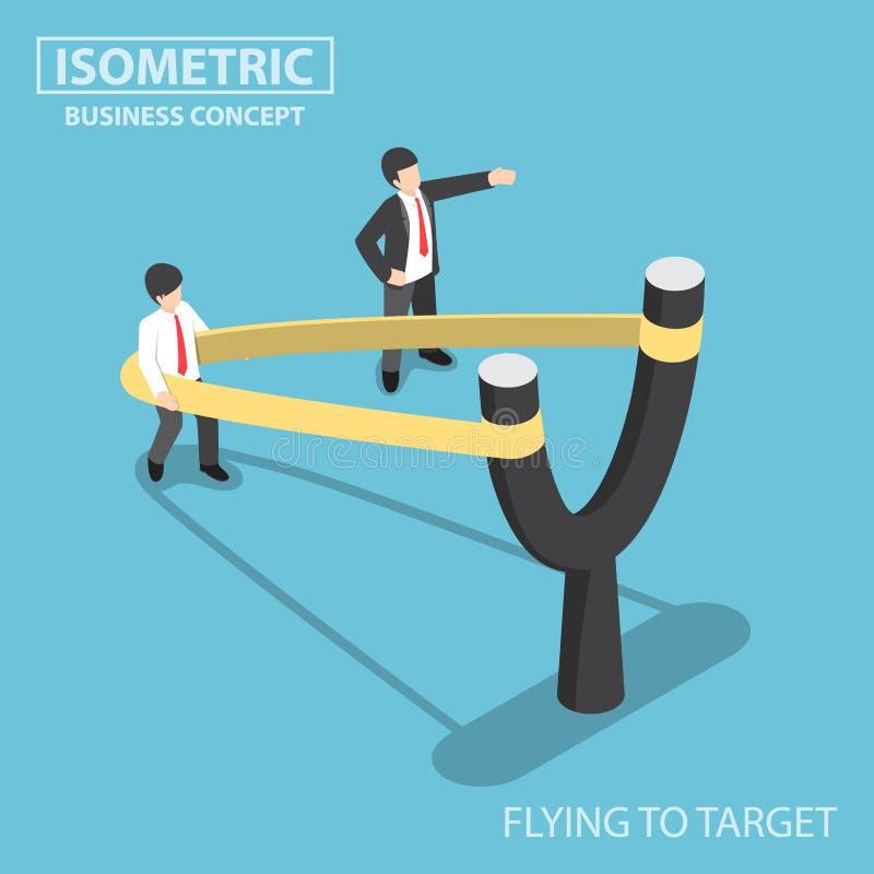 Homme d'affaires isométrique préparant pour voler par la catapulte de fronde illustration stock