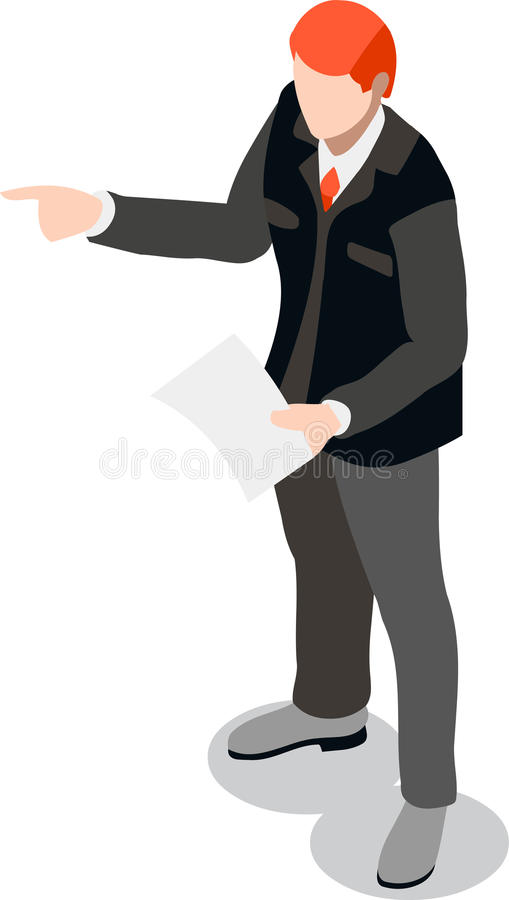 Homme d'affaires isométrique Sale Lead Bank illustration stock