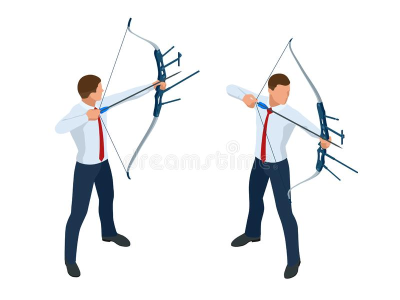 Homme d'affaires isométrique tirant un tir à l'arc R?ussite La fl?che a frapp? le centre de la cible Accomplissement de cible d'a illustration stock