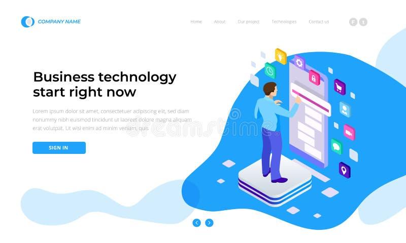 Homme d'affaires isométrique Using Digital Devices Contact du smartphone d'écran Interface mondiale de technologie de connexion illustration de vecteur