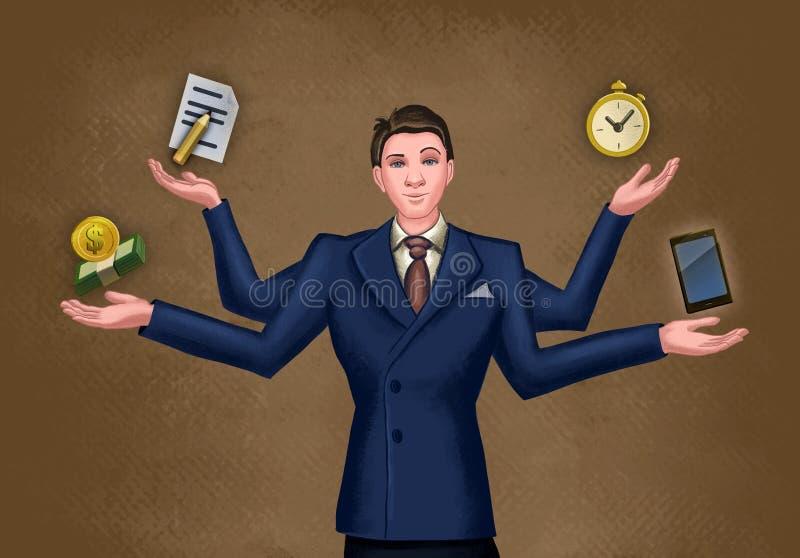 Homme d'affaires jonglant des activités multiples illustration libre de droits