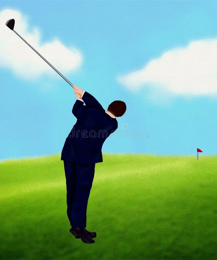 Homme d'affaires jouant le golf photographie stock libre de droits