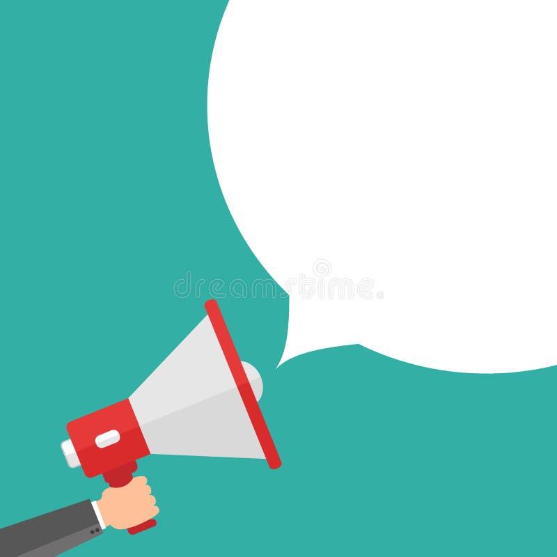 Homme d'affaires jugeant le mégaphone disponible Calibre de la publicité avec la photo du haut-parleur sain Promotion de mégaphon illustration stock