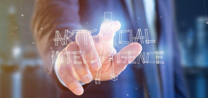 Homme d'affaires jugeant un robot d'intelligence artificielle fait en ligh photos libres de droits