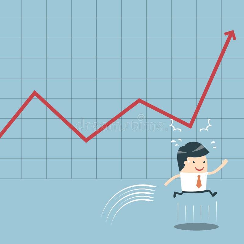 Homme d'affaires Jump et graphique illustration stock