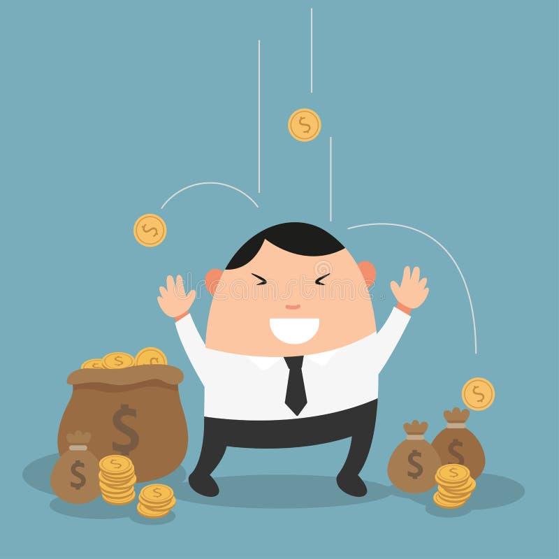 Homme d'affaires l'appréciant pleuvant l'argent illustration stock