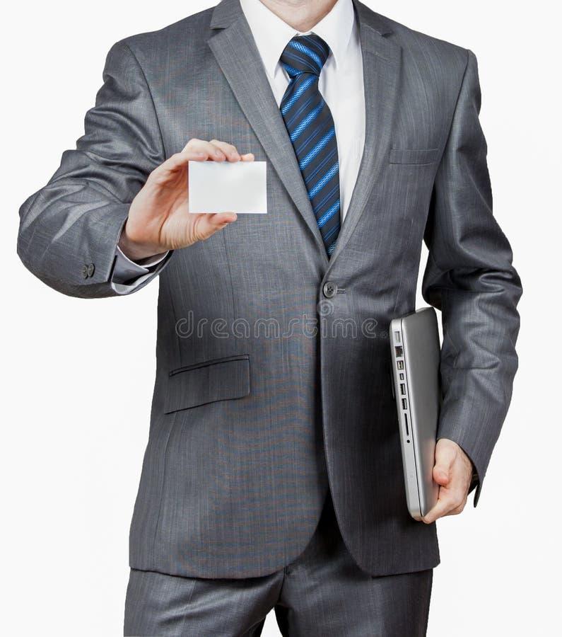 Homme d'affaires With Laptop et carte de visite professionnelle de visite photo libre de droits