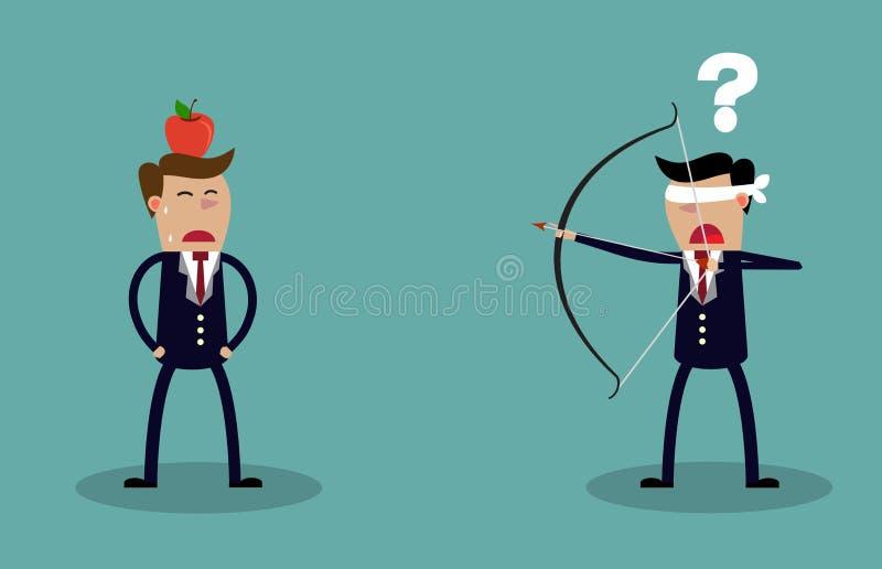 Homme d'affaires les yeux bandés visant à tirer à la pomme illustration libre de droits