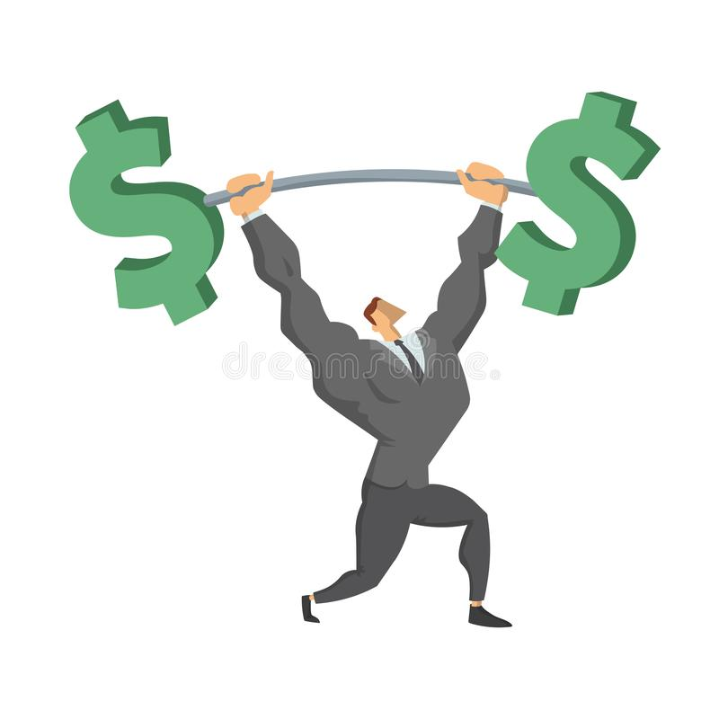 Homme d'affaires Lifting Up Barbell avec le symbole dollar Caractère d'affaires, symbole de succès et confiance en soi Concept illustration stock