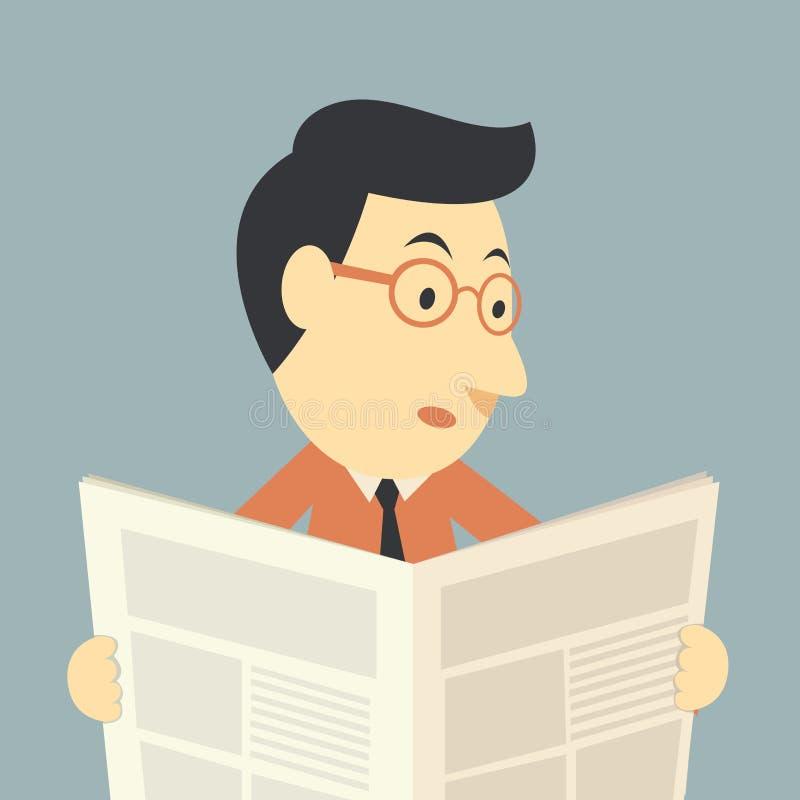 Homme d'affaires lisant un journal illustration de vecteur