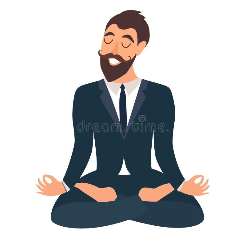 Homme d'affaires méditant Concept des affaires calmes, travail au bureau Ouvrier heureux Homme d'affaires dans la pose de yoga, p illustration de vecteur